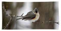 Titmouse During Snow Storm Beach Towel by Betty Pauwels