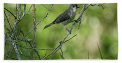 Titmouse In The Brush Beach Towel