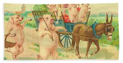 To Market To Market To Buy A Fat Pig 86 - Painting Beach Sheet