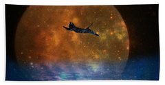 To The Moon And Back Cat Beach Towel by Kathy Barney