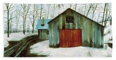 Beach Towel featuring the painting To The Sugar House by Karen Zuk Rosenblatt