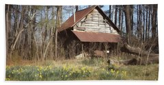 Beach Towel featuring the photograph Tobacco Barn In Spring by Benanne Stiens