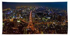 Beach Towel featuring the photograph Tokyo At Night by Dan Wells