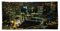 Tokyo Cityscape And Bay Area Beach Towel
