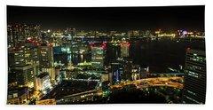 Tokyo Cityscape And Odaiba Skyline Beach Towel