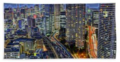 Tokyo Japan Skyline Beach Sheet by Marvin Blaine