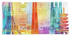 Tokyo Landmarks Watercolor Poster Beach Towel