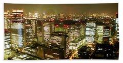 Tokyo Skyline Beach Towel by Nancy Ingersoll