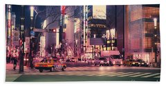 Tokyo Street At Night, Japan 2 Beach Towel