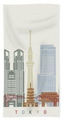 Tokyo V2 Skyline Poster Beach Towel