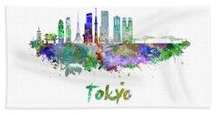 Tokyo V3 Skyline In Watercolor Beach Sheet by Pablo Romero