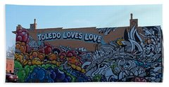 Beach Towel featuring the photograph Toledo Loves Love by Michiale Schneider