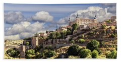 Toledo. Majestic Stone Fortress The Alcazar Is Visible From Any Part Of The City Beach Towel