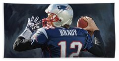 Tom Brady Artwork Beach Towel by Sheraz A