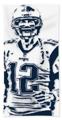 Tom Brady New England Patriots Pixel Art 6 Beach Towel by Joe Hamilton