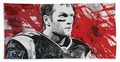 Tom Brady Red White And Blue Beach Towel by John Farr