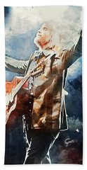 Tom Petty - Watercolor Portrait 13 Beach Sheet