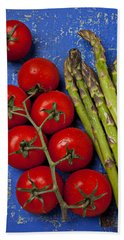 Tomatoes And Asparagus  Beach Towel by Garry Gay