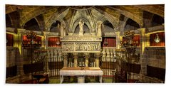 Tomb Of Saint Eulalia In The Crypt Of Barcelona Cathedral Beach Towel