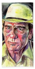 Tommy Lee Jones Portrait Watercolor Beach Towel