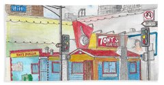 Tony Burger, Downtown Los Angeles, California Beach Sheet by Carlos G Groppa