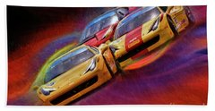 Tony Ferraro Leads Mike Louli And Keith Larson Ferrari Challenge 458 Beach Towel