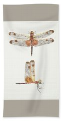 Top And Side Views Of A Male Calico Pennant Dragonfly Beach Towel