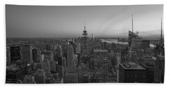 Top Of The Rock At Sunset Bw Beach Towel