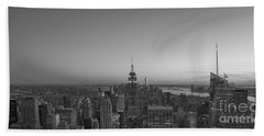 Top Of The Rock Sunset Bw Beach Towel