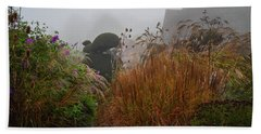 Topiary Peacocks In The Autumn Mist, Great Dixter 2 Beach Towel