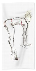 Beach Sheet featuring the mixed media Topknot - Female Nude by Carolyn Weltman