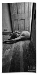 Topless Woman In Doorway Beach Sheet