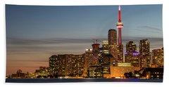 Toronto Skyline At Dusk Beach Towel