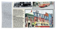Beach Towel featuring the painting Toronto Sun Article Streetcars Brush With Fame by Kenneth M Kirsch