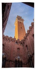 Beach Towel featuring the photograph Torre Del Mangia Siena Italy by Joan Carroll