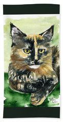 Tortoiseshell Maine Coon Portrait Beach Towel