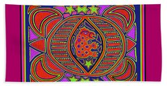 Beach Towel featuring the digital art Tortuga Shaman Spirits by Vagabond Folk Art - Virginia Vivier