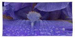 Beach Towel featuring the photograph Totally Blue Iris by Jean Noren