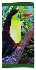 Toucan Portrait 2 Beach Towel by Marilyn McNish