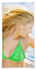 Tourist On Ocean Travel Cruise Beach Towel