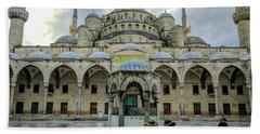 Tourists And The Blue Mosque Beach Towel