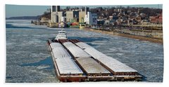 Tow Boat Cooperative Venture On Mississippi River Beach Towel