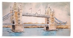 Tower Bridge Beach Towel by Marilyn Zalatan