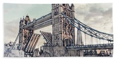 Beach Towel featuring the digital art Tower Bridge by Pennie  McCracken