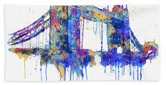 Tower Bridge Watercolor Beach Sheet by Marian Voicu