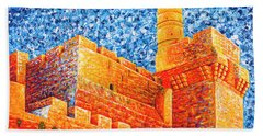 Beach Sheet featuring the painting Tower Of David At Night Jerusalem Original Palette Knife Painting by Georgeta Blanaru