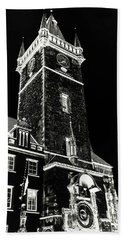 Beach Towel featuring the photograph Tower Of Old Town Hall In Prague. Black by Jenny Rainbow