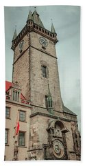 Beach Towel featuring the photograph Tower Of Old Town Hall In Prague by Jenny Rainbow