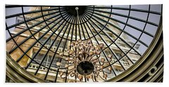 Tower Through Glass Dome In Bellagio Ceiling Beach Sheet