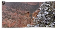 Towers In The Snow Beach Towel by Debby Pueschel